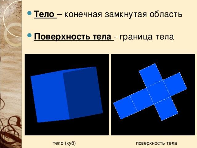 Тело – конечная замкнутая область Поверхность тела - граница тела тело (куб) поверхность тела