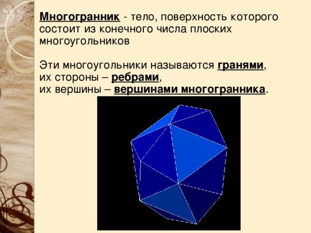 Многогранник  - тело, поверхность которого состоит из конечного числа плоских многоугольников Эти многоугольники называются гранями , их стороны – ребрами , их вершины – вершинами многогранника .