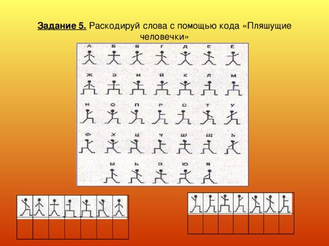 Задание 5. Раскодируй слова с помощью кода «Пляшущие человечки»