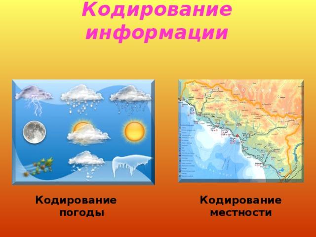 Кодирование информации Кодирование погоды Кодирование местности