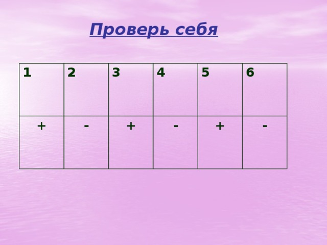 Проверь себя 1 2 + - 3 4 + - 5 6 + -