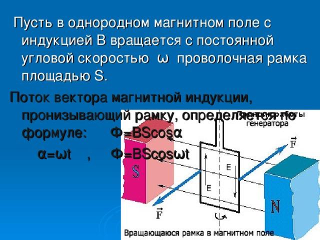 Пусть в однородном магнитном поле с индукцией В вращается с постоянной угловой скоростью ω проволочная рамка площадью S . Поток вектора магнитной индукции, пронизывающий рамку, определяется по формуле: Ф= BScosα α=ω t , Ф= BScosωt
