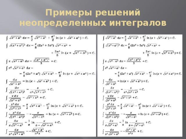 Неопределенный интеграл примеры решение задач алгебра проценты решения задач
