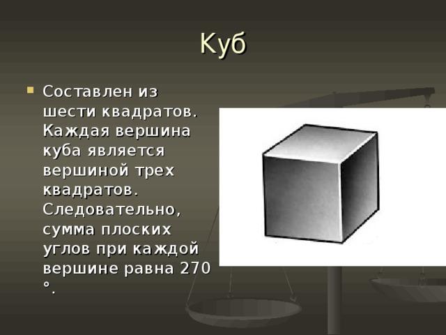 Куб Составлен из шести квадратов. Каждая вершина куба является вершиной трех квадратов. Следовательно, сумма плоских углов при каждой вершине равна 270 °.