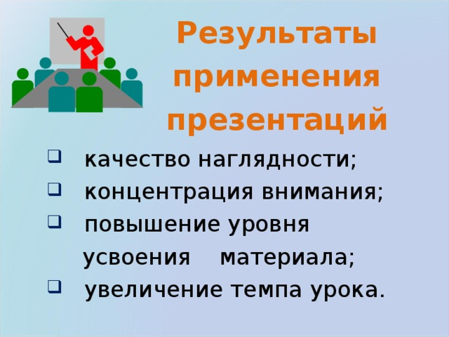 Результаты применения презентаций  качество наглядности;  концентрация внимания;  повышение уровня  усвоения материала;  увеличение темпа урока.