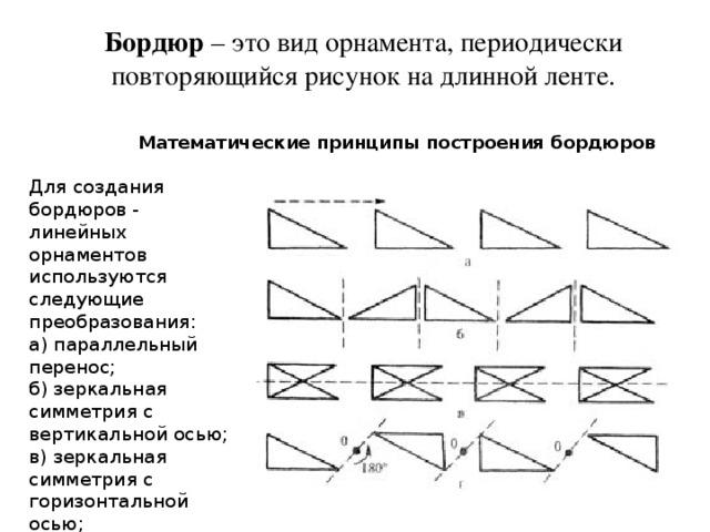 Бордюр – это вид орнамента, периодически повторяющийся рисунок на длинной ленте. Математические принципы построения бордюров Для создания бордюров - линейных орнаментов используются следующие преобразования:  а) параллельный перенос;  б) зеркальная симметрия с вертикальной осью;  в) зеркальная симметрия с горизонтальной осью;  г) поворотная (центральная симметрия).