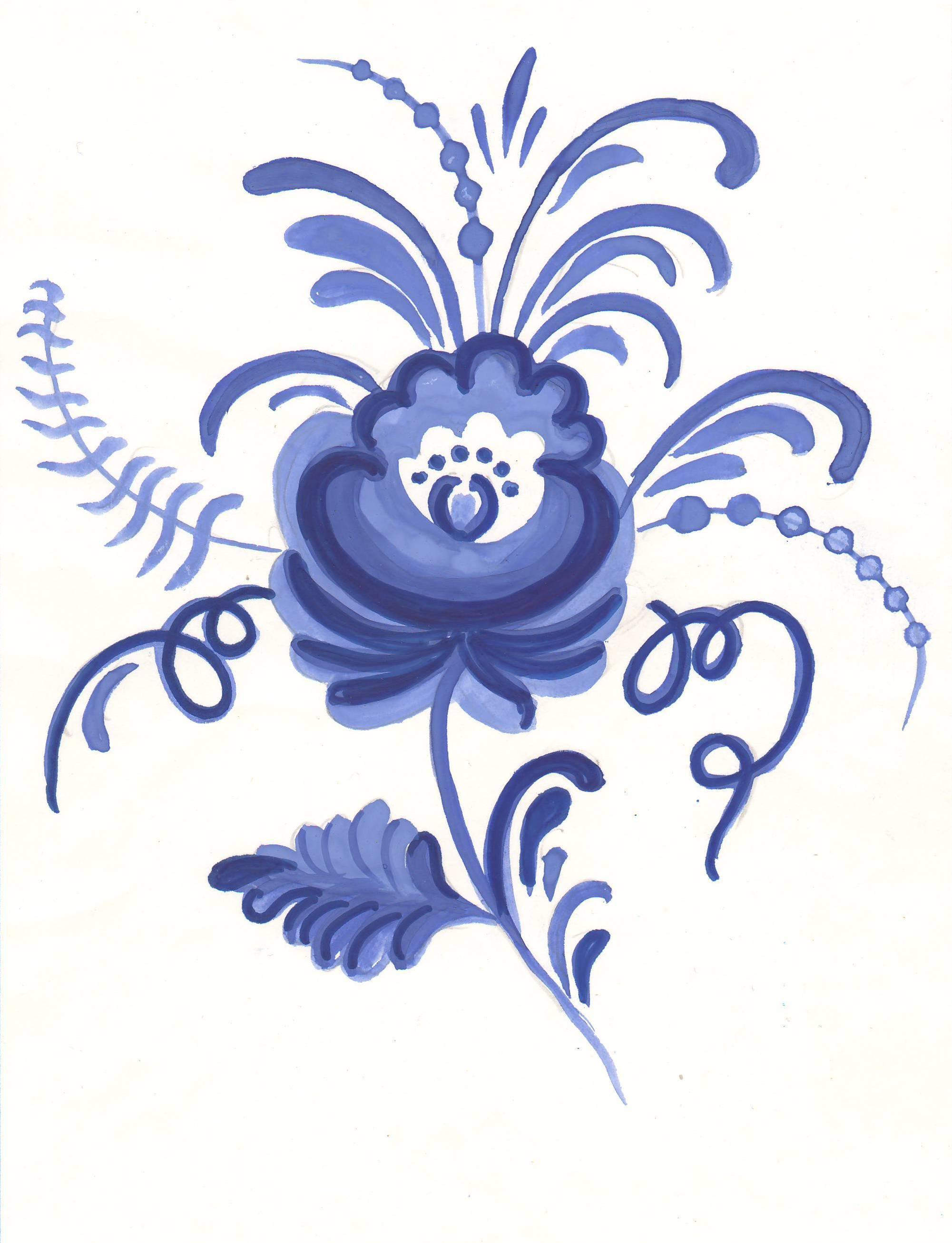 Картинки гжели с цветами