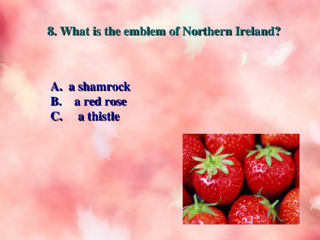 8. What is the emblem of Northern Ireland? A. a shamrock B. a red rose C. a thistle