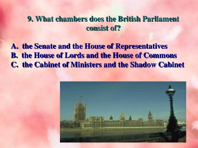9. What chambers does the British Parliament consist of? A. the Senate and the House of Representatives B. the House of Lords and the House of Commons C. the Cabinet of Ministers and the Shadow Cabinet