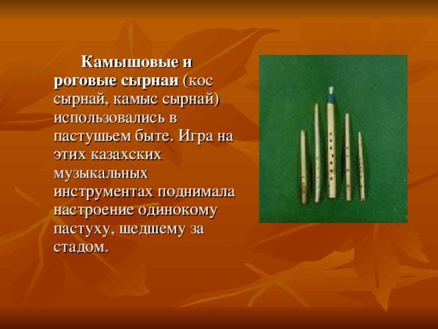 Камышовые и роговые сырнаи (кос сырнай, камыс сырнай) использовались в пастушьем быте. Игра на этих казахских музыкальных инструментах поднимала настроение одинокому пастуху, шедшему за стадом.