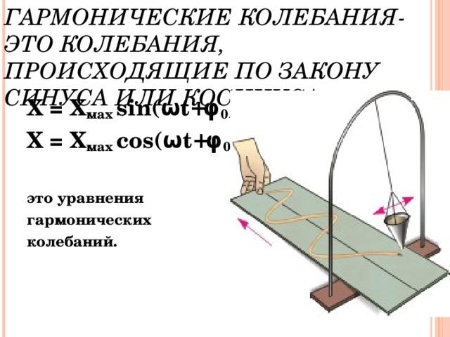 ГАРМОНИЧЕСКИЕ КОЛЕБАНИЯ-  ЭТО КОЛЕБАНИЯ, ПРОИСХОДЯЩИЕ ПО ЗАКОНУ СИНУСА ИЛИ КОСИНУСА. Х = Х мах  sin( ω t + φ 0 ) Х = Х мах  cos( ω t + φ 0 )  это уравнения гармонических колебаний.