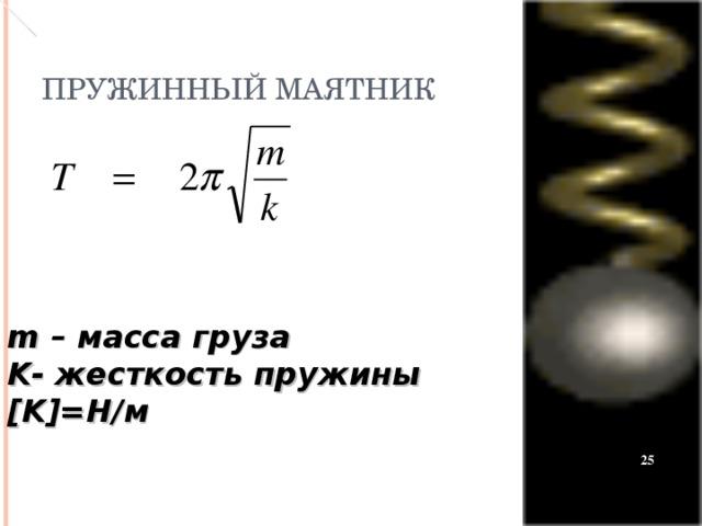 ПРУЖИННЫЙ МАЯТНИК m – масса груза K - жесткость пружины [K ] =Н/м