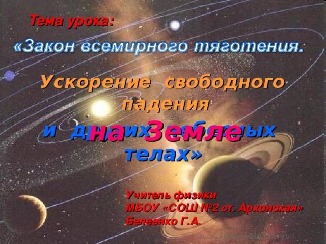 Тема урока: Ускорение свободного падения на Земле и других небесных телах» Учитель физики МБОУ «СОШ №2 ст. Архонская» Белеенко Г.А.
