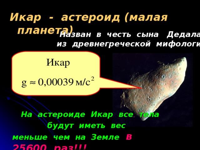 Икар - астероид (малая планета)    Назван в честь сына Дедала из древнегреческой мифологии  На астероиде Икар все тела  будут иметь вес меньше чем на Земле  в 25600 раз!!!