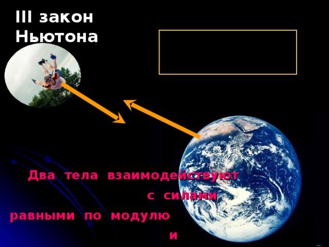 III закон Ньютона  Два тела взаимодействуют с силами равными по модулю и противоположными по направлению