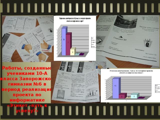 Работы, созданные учениками 10-А класса Запорожской гимназии №6 в период реализации проекта по информатике «Этикет –путь к успеху?»