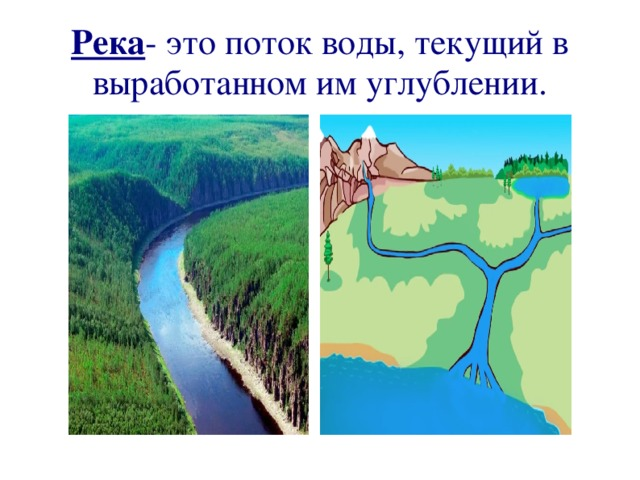 Река - это поток воды, текущий в выработанном им углублении.