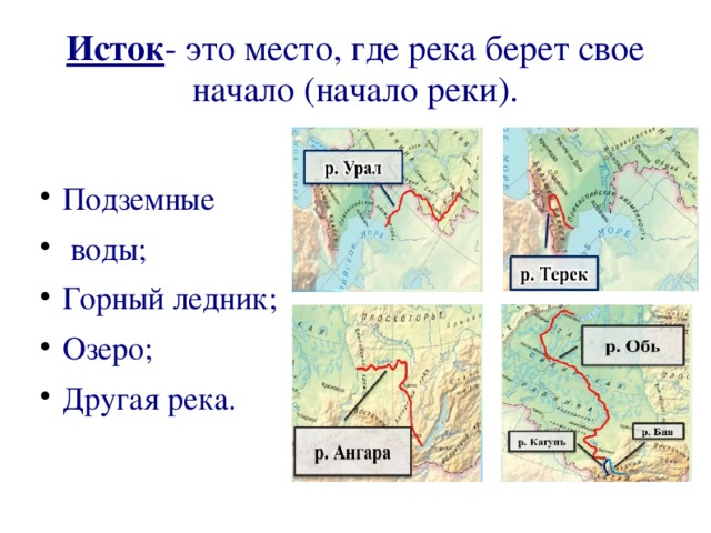 Исток - это место, где река берет свое начало (начало реки). Подземные воды; Горный ледник; Озеро; Другая река.