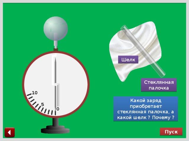 Шелк Стеклянная палочка 10 Какой заряд приобретает стеклянная палочка, а какой шелк ? Почему ? 5 0 Пуск