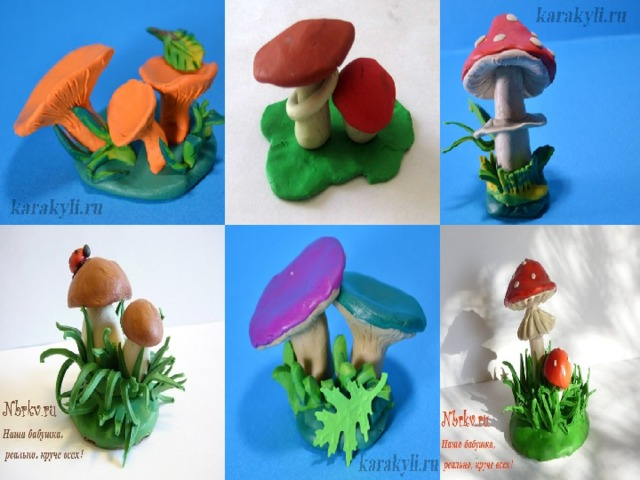картинки из пластилина грибы этим