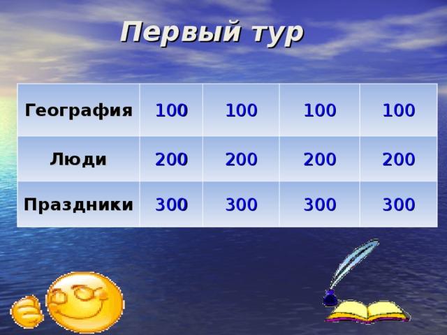 Первый тур География 100 Люди Праздники 100 200 100 300 200 300 200 100 300 200 300