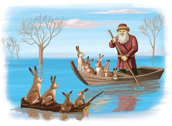 сделали рисунки дедушка мазай и зайцы базу загружается информация