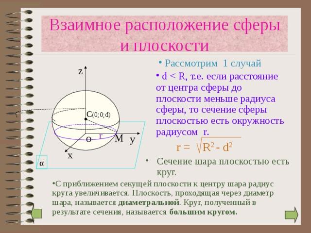 Взаимное расположение сферы и плоскости  Рассмотрим 1 случай z  d C (0 ;0; d) r М у O r = R 2 - d 2 х Сечение шара плоскостью есть круг.   α С приближением секущей плоскости к центру шара радиус круга увеличивается. Плоскость, проходящая через диаметр шара, называется диаметральной . Круг, полученный в результате сечения, называется большим кругом.