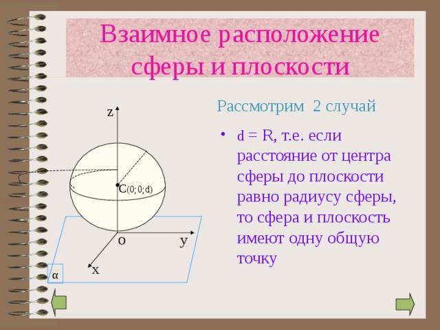 Взаимное расположение сферы и плоскости  Рассмотрим 2 случай z d = R , т.е. если расстояние от центра сферы до плоскости равно радиусу сферы, то сфера и плоскость имеют одну общую точку C (0 ;0; d) у O х α