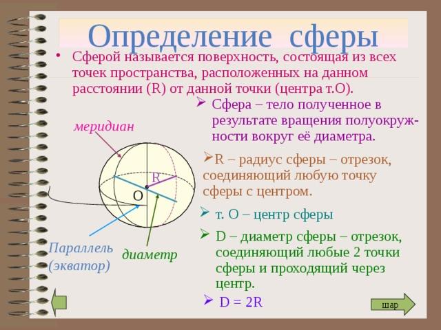 Определение сферы Сферой называется поверхность, состоящая из всех точек пространства, расположенных на данном расстоянии ( R) от данной точки ( центра т.О). Сфера – тело полученное в результате вращения полуокруж-ности вокруг её диаметра. меридиан R – радиус сферы – отрезок, соединяющий любую точку сферы с центром. R О т. О – центр сферы D – диаметр сферы – отрезок, соединяющий любые 2 точки сферы и проходящий через центр. Параллель (экватор) диаметр D = 2R шар