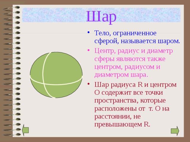 Шар Тело, ограниченное сферой, называется шаром. Центр, радиус и диаметр сферы являются также центром, радиусом и диаметром шара. Шар радиуса R и центром О содержит все точки пространства, которые расположены от т. О на расстоянии, не превышающем R.