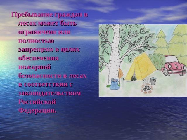 Пребывание граждан в лесах может быть ограничено или полностью запрещено в целях обеспечения пожарной безопасности в лесах в соответствии с законодательством Российской Федерации.
