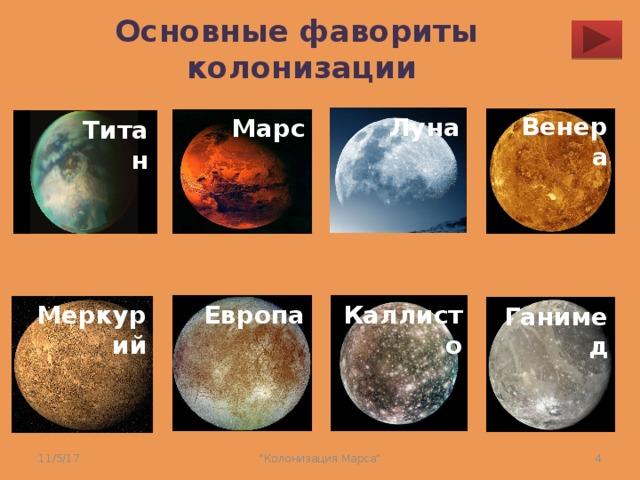 Основные фавориты  колонизации Венера Луна Марс Титан Каллисто Меркурий Европа Ганимед 11/5/17