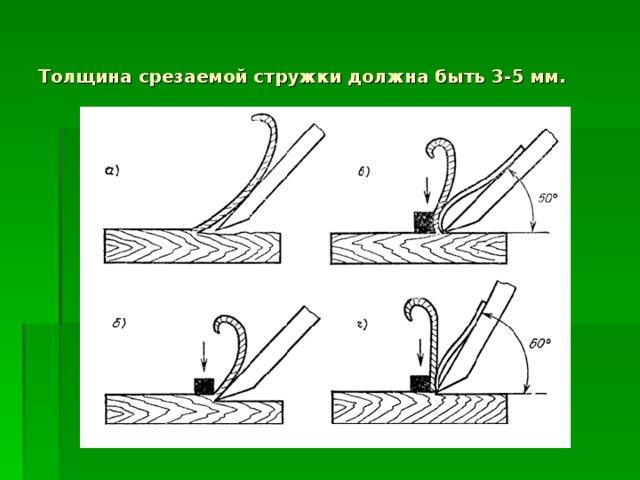 Толщина срезаемой стружки должна быть 3-5 мм.