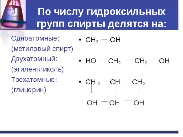 По числу гидроксильных групп спирты делятся на : Одноатомные : ( метиловый спирт) Двухатомный : ( этиленгликоль) Трехатомные : ( глицерин) CH 3 OH  HO CH 2 CH 2 OH  CH 2 CH CH 2  OH OH OH