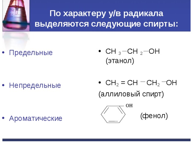 По характеру у/в радикала выделяются следующие спирты : CH 3 CH 2 OH  ( этанол) CH 2 = CH CH 2 OH ( аллиловый спирт)  (фенол) Предельные Непредельные  Ароматические ОН