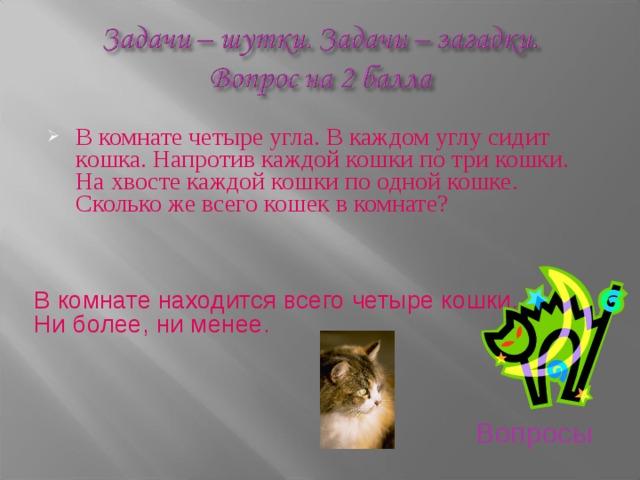 загадка про кошек в комнате что если