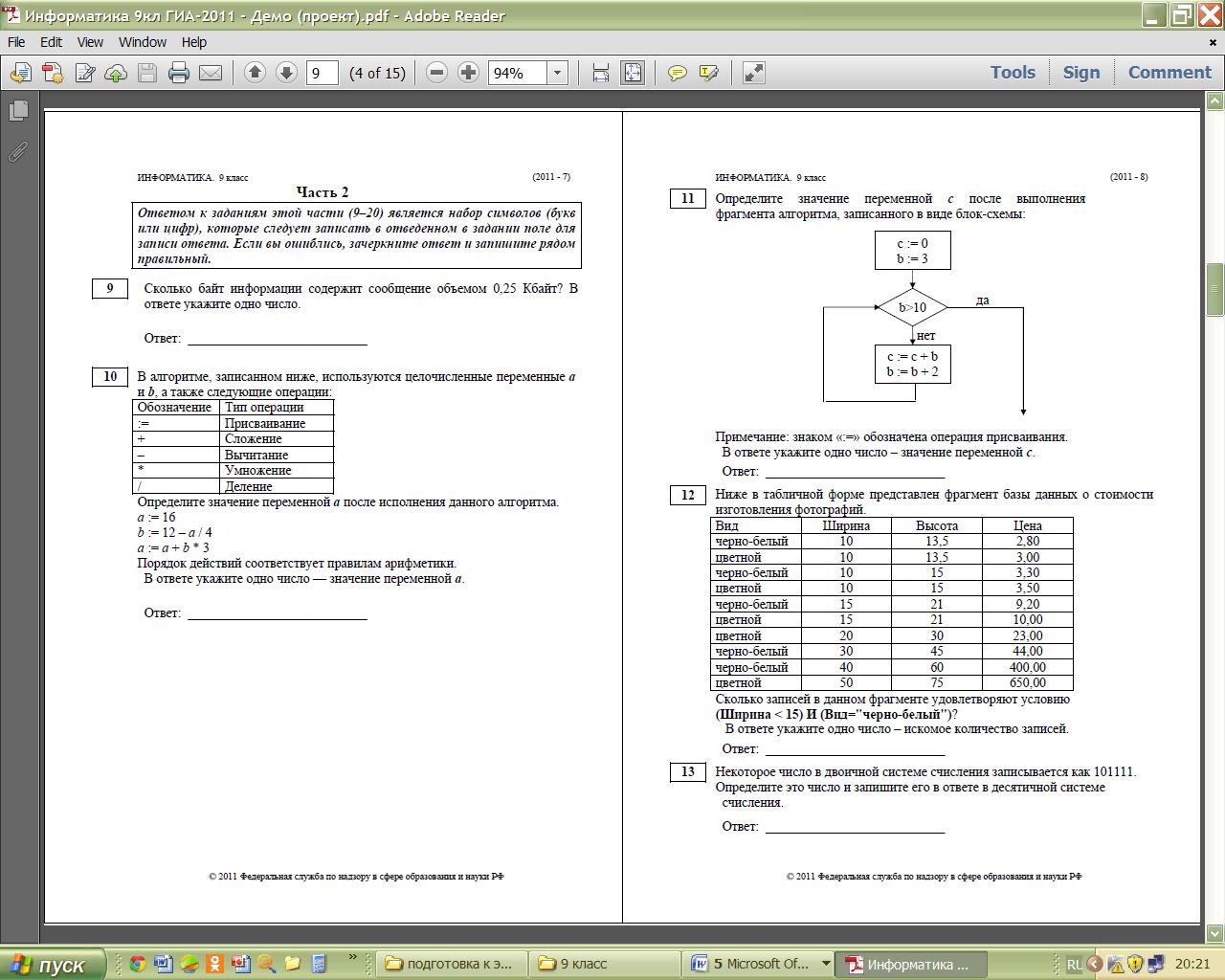 Глава 8 алгоритмизация и программирование контрольные работы ветвления 4629
