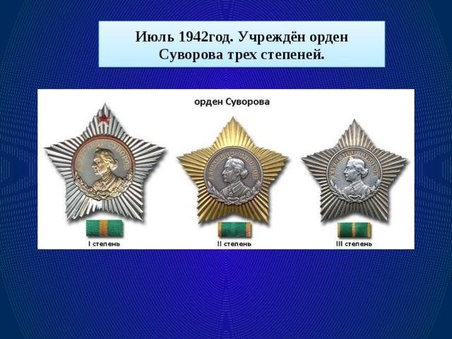 Июль 1942год. Учреждён орден Суворова трех степеней.