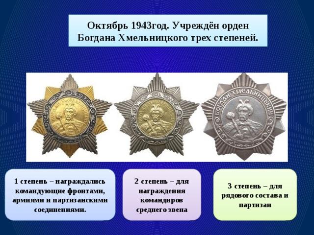 Октябрь 1943год. Учреждён орден Богдана Хмельницкого трех степеней. 1 степень – награждались командующие фронтами, армиями и партизанскими соединениями. 2 степень – для награждения командиров среднего звена 3 степень – для рядового состава и партизан