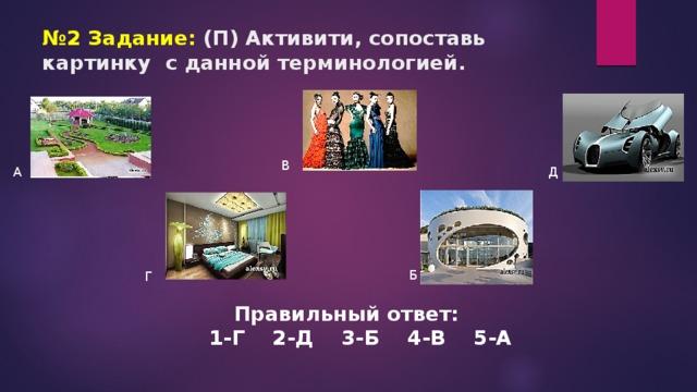 № 2 Задание: (П) Активити, сопоставь картинку с данной терминологией. В А Д Б Г Правильный ответ: 1-Г 2-Д 3-Б 4-В 5-А