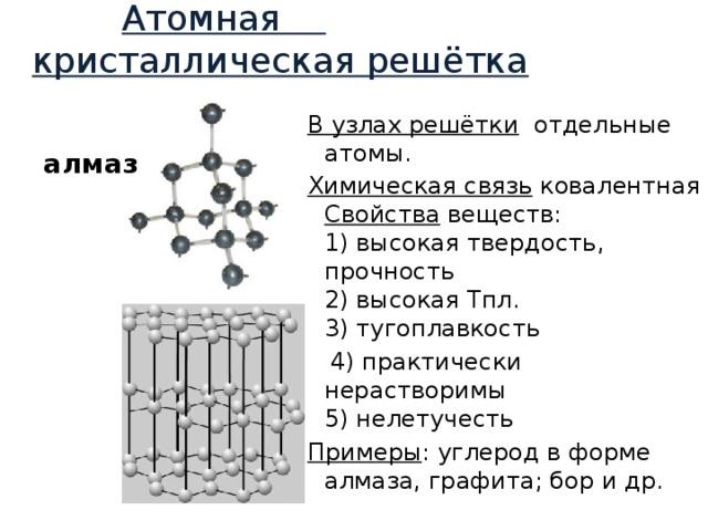 Атомная  кристаллическая решётка В узлах решётки отдельные атомы. Химическая связь ковалентная Свойства веществ:  1) высокая твердость, прочность  2) высокая Тпл.  3) тугоплавкость  4) практически нерастворимы  5) нелетучесть Примеры : углерод в форме алмаза, графита; бор и др. алмаз