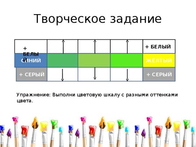 Творческое задание + БЕЛЫЙ + БЕЛЫЙ ЖЁЛТЫЙ СИНИЙ + СЕРЫЙ + СЕРЫЙ Упражнение: Выполни цветовую шкалу с разными оттенками цвета.