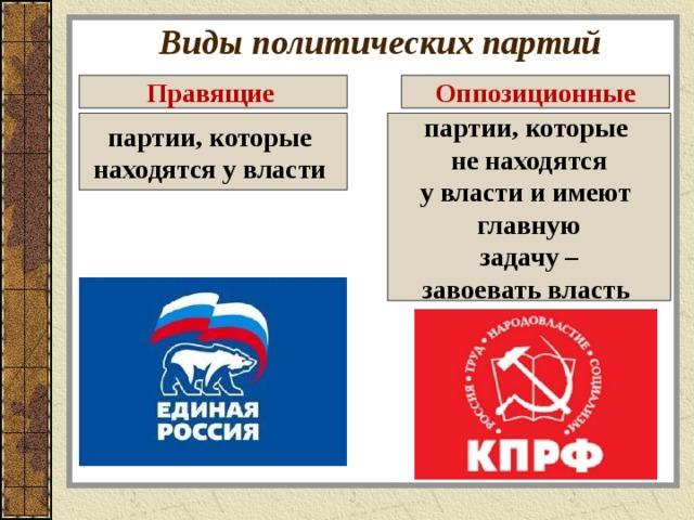 Виды политических партий Правящие  Оппозиционные партии, которые находятся у власти  партии, которые не находятся у власти и имеют главную  задачу – завоевать власть