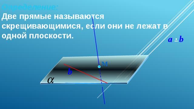 Определение:   Две прямые называются скрещивающимися, если они не лежат в одной плоскости. a b М b