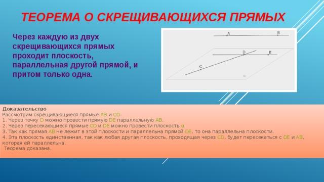 Теорема о скрещивающихся прямых   Через каждую из двух скрещивающихся прямых проходит плоскость, параллельная другой прямой, и притом только одна. Доказательство  Рассмотрим скрещивающиеся прямые AB и CD .  1. Через точку D можно провести прямую DE параллельную AB .  2. Через пересекающиеся прямые CD и DE можно провести плоскость α  3. Так как прямая А B не лежит в этой плоскости и параллельна прямой DE , то она параллельна плоскости. 4. Эта плоскость единственная, так как любая другая плоскость, проходящая через CD , будет пересекаться с DE и AB , которая ей параллельна.  Теорема доказана.