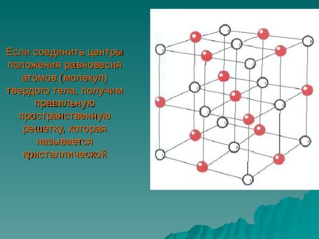 Если соединить центры положения равновесия атомов (молекул) твердого тела, получим правильную пространственную решетку, которая  называется кристаллической