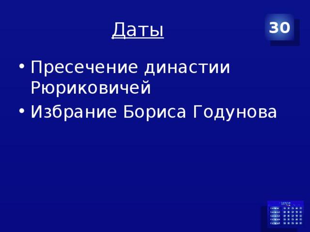 Даты 30 Пресечение династии Рюриковичей Избрание Бориса Годунова