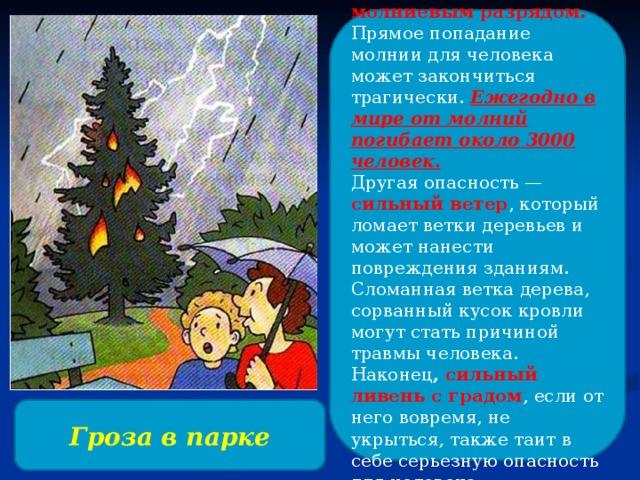 Чем опасна гроза? Прежде всего, молниевым разрядом. Прямое попадание молнии для человека может закончиться трагически. Ежегодно в мире от молний погибает около 3000 человек. Другая опасность — сильный ветер , который ломает ветки деревьев и может нанести повреждения зданиям. Сломанная ветка дерева, сорванный кусок кровли могут стать причиной травмы человека. Наконец , сильный ливень с градом , если от него вовремя, не укрыться, также таит в себе серьезную опасность для человека. Гроза в парке