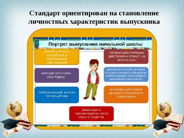 Стандарт ориентирован на становление личностных характеристик выпускника владеющий основами умения учиться, способный к организации собственной деятельности;