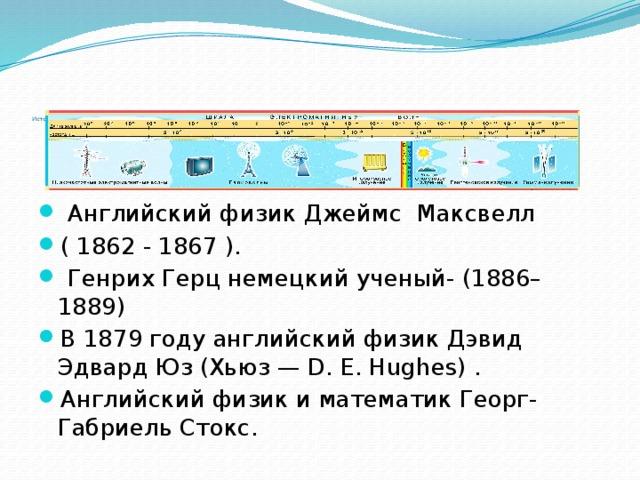 Исторический материал    Английский физик Джеймс Максвелл ( 1862 - 1867 ).  Генрих Герц немецкий ученый- (1886–1889) В 1879 году английский физик Дэвид Эдвард Юз (Хьюз— D.E.Hughes) . Английский физик и математик Георг-Габриель Стокс.